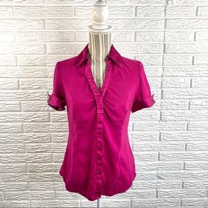 Express Fuchsia Satin Top with Ruffle Accents